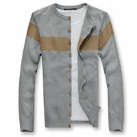 Male male cardigan sweater stripe o-neck patchwork color block thin sweater outerwear sweater men's clothing