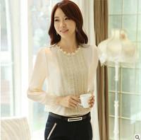 Fashion casual long-sleeved shirt temperament beaded lace chiffon blouse