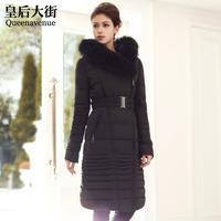 Classic large fur collar slim down lengthen fur coat female long elegant design y028