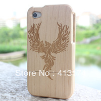 Hot Sale 1 Pieces Phoenix wood case cover for iPhone 4/4S (maple) +1piece film screen protector =2pieces/lot for iphone4/4S