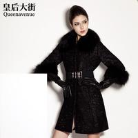 Overcoat large fur collar long slim design lace fur woolen outerwear female d006