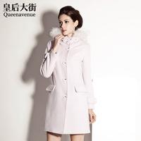 Classic raccoon fur wool woolen outerwear overcoat d209