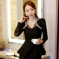 2014 Autumn lady wood ear collar long-sleeved lace shirt long shirt temperament casual fashion necklace sent