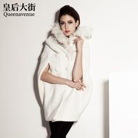 Large raccoon fur wool cloak woolen outerwear overcoat d205