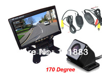 "Wireless IR Reverse Parking Camera  4 LED Sensors 170 Degree Wide Angle+ 7"" LCD Car Monitor Rear View Kit"
