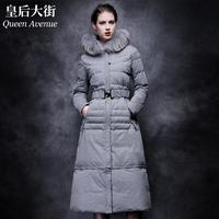 Fashion ultra slim elegant long fur down coat y301