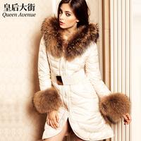 Fashion female winter fur collar long ultra slim fur coat down y019