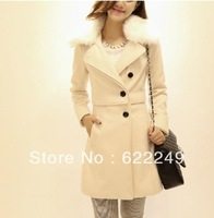 free shipping 2013 /2014 new fashion  Long wool tit is coat of cultivate one's morality OL in the fur wool coat for womenS-XXL