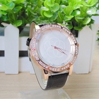 Hot Debut! Olympic Rings Simple Fashion Style Rhinestone Studded Leather Quartz Watches Women