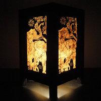 Asian Oriental Thai Elephant Bedside Table Lamp Wood Paper Light