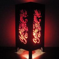 Asian Oriental Red Japanse Dragon Bedside Floor or Table Lamp or Bedside Paper Light