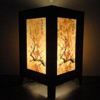 Asian Oriental Japanese Cherry Blossom Trees Zen Art Bedside Desk Table Lamp or Bedside Paper Light