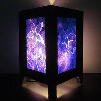 Asian Oriental Purple Butterfly Flower Batik Art Bedside Table Lamp or Bedside Wood Paper Light