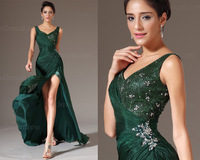 Emerald Green V-neck Slit Side Sexy Chiffon Beaded  Long Formal Floor Length Abendkleider Evening Dresses 2014 Vestido De Festa
