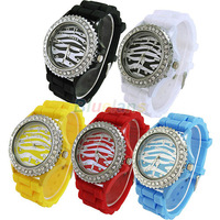 Min. 16 New Ladies Womens Candy Color Zebra Dial Silicone Crystal Rhinestone Jelly Wrist Watch Watches Sale