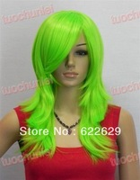 Natural Kanekalon Fiber Hair New New fashion Medium role-playing wigsNew fashion Medium role-playing green Full Wig