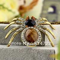 1pcs Spider Rhinestones Crystal Vintage Retro Long Necklace Pendant Sweater Chain hot selling