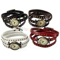 Min. 16 Fashion Retro Bronze Leather Rivet Stud Leather Strap Bracelet Quartz Dial Wrist Watch 5 Colors