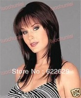 Natural Kanekalon Fiber Hair NEW Gorgeous long brown hair women's full wig