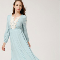 New Fashion Autumn-Winter Women Embroidering Flower Long Dresses Long Sleeve V-Neck Beach Floor-Length Dress 7021#
