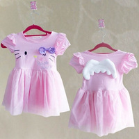 New Style Hello Kitty angel wings summer dress with short sleeves lovely pink lace chiffon princess dress #KS0090