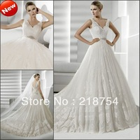 Luxury Elegant V-neck Appliques Chapel Train Ivory Tulle Three Layer Plus Size Wedding Dress Bridal Gowns 2013 Free Shipping