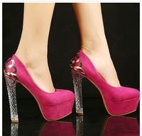 2013 fashion ultra high heels wedding shoes with crystal rose metal platform high-heeled single shoes