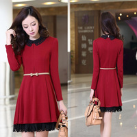 2013 slim elegant skirt basic knitted long-sleeve dress women