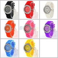 Fashion Geneva Crystal Watch Jelly Gel Silicon Girl Women's Quartz Wrist Watch Candy Colors Free Shipping