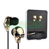3.5 mm High Performance Metal skull headphone gold and silver Personality earphone In ear headphones