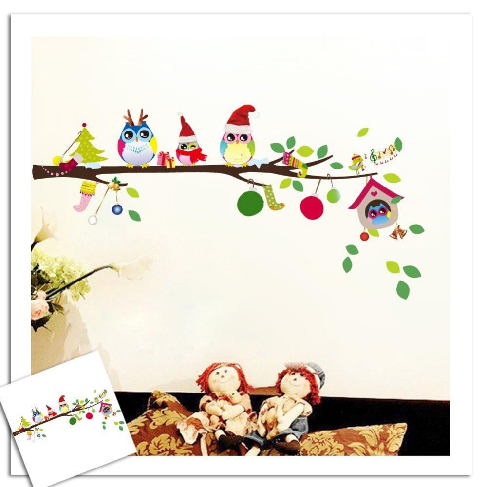 Coruja aves árvore feliz natal decoração adesivos de parede janela adesivo decalque início(China (Mainland))