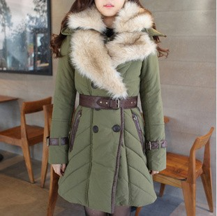 2013 New winter newest style thicken army green cotton fur collar cotton-padded jacket lamb wool coat with belt(China (Mainland))