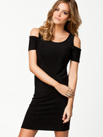 New fashions womens sexy shinny dress with cut out design in shoulder for wholesale and dropship