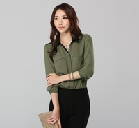BEST SELLING ! 2013 Elegant Lady Fashion Loose Chiffon Blouse Size M-3XL NEW Army Green Women Career Shirts Free Shipping A073