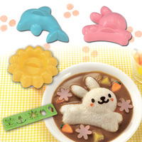 3 PCS Dolphin Flower Rabbit Sushi Curry Rice Mold Press Maker Japan Kitchen Tool  freeshipping