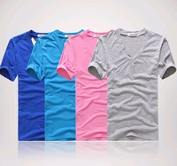 12 color 2014 spring and summer high-elastic cotton men's short sleeve v neck tight shirt male T-shirt v-neck