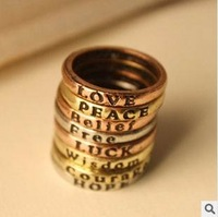 50PCS New design retro Unisex lettering ring promise finger ring fahion jewelry 16mm,retail or wholesale