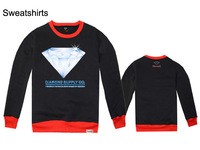Thick Sweatshirt / Men brand / Red O-Neck / Black Long Sleeve / Diamond Graphics Sports Fashion hip hop  t-shirt