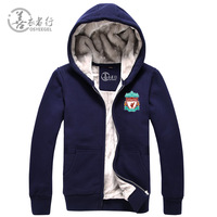2013 autumn and winter liverpool football cotton-padded jacket plus velvet thickening cardigan zipper plus size lovers*