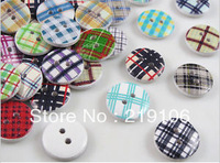 100Pcs natural wood mixed wood sewing button holes round 2 Collage