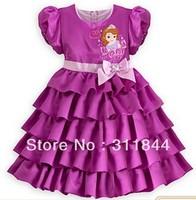 2014 hot new style 1 pcs High quality Princess Sophia Waist Bow Dress Girls Princess Party Bubble Sleeve Kids Formal Dress