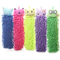free shipping Cartoon hand towel hanging chenille towel multi-purpose cleaning cloth ultrafine fiber cloth