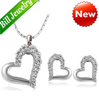Free Shipping Wholesale Lots Fashion Cheap New Arrival 18K Gold Plated Crystal Heart Pendant Necklace Earrings Jewelry Sets