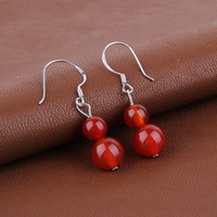 Free shipping 925 pure silver stud earring earrings natural agate Women anti-allergic silver earring drop earring