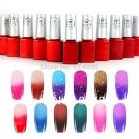 HOT10 pcs/lot 2014 Hot 12ML Temperature Color Change Nail Art Color UV Gel Nail Polish 24 color Choose Free shipping