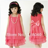 Free Shipping!! 2014 Summer Fashion Girls' Princess Dress Sleeveless Rose Dresses Children's suits Lovely Bow
