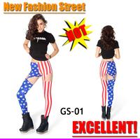American flag xinshixin textile digital print spaghetti strap cutout iron clip metal buckle  garter pants fashion