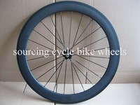 Cheap price & 700c road bicycle full carbon fiber 60mm clincher front wheel,3K matte,black hub