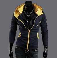 Free shipping hoodies men hit color zipper with hood sportwear hoodie jacket casual coat asian pop style men's slim coat
