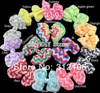chevron print bows Fabric Hair Bows WITHOUT hair clips-Chiffon Chevron Bow Appliques,baby hair accessories-52pcs-Free Shipping